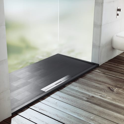 Fiora AVANT black luxury coloured shower tray with stainless linear waste