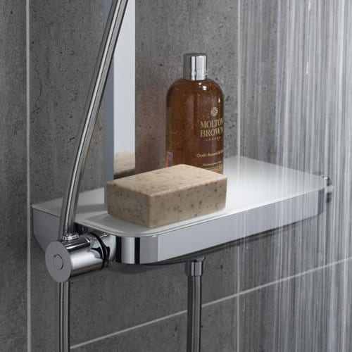 Modern shower valve with integrated shelf