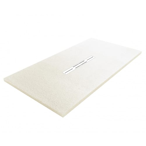 Fiora Privilege white slate effect extra flat shower tray with central linear waste