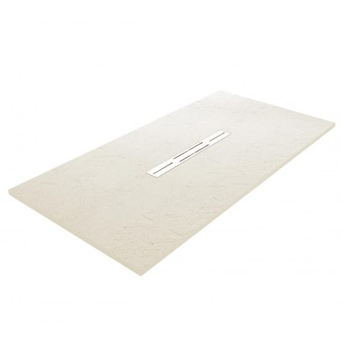 Fiora Privilege Off White brick effect extra flat shower tray with central linear waste