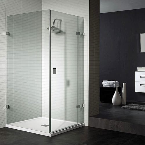 Room H2o frameless 10mm glass shower enclosure and Fiora white shower tray