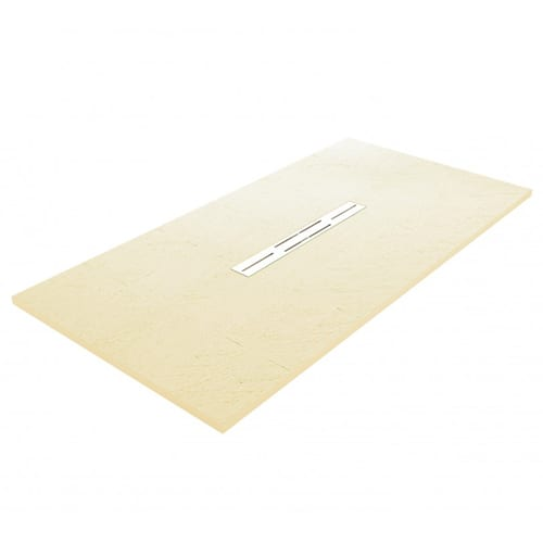 Fiora Privilege Cream brick effect extra flat shower tray with linear waste