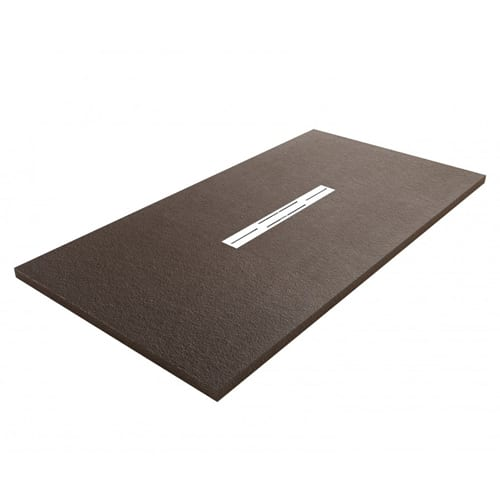 Fiora Privilege Wenge brown slate effect extra flat shower tray with linear waste