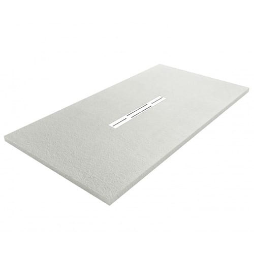Fiora Privilege Grey slate effect extra flat shower tray with linear waste