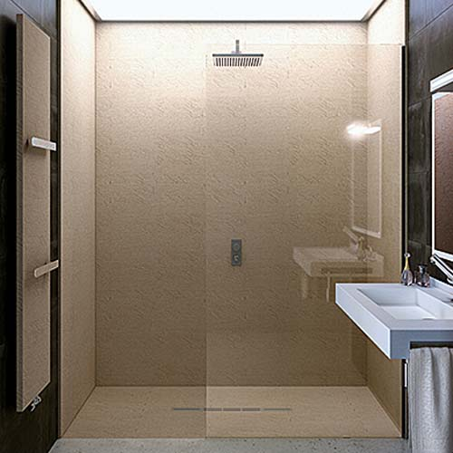 Fiora Box shower wall panels and Silex Privilege shower tray in Nature Cappucino rich beige colour