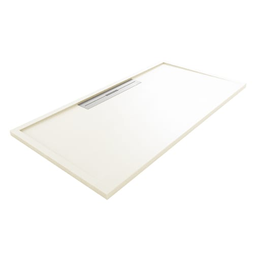 Fiora Silex AVANT large luxury ultra-thin shower tray in PURE WHITE colour with linear waste