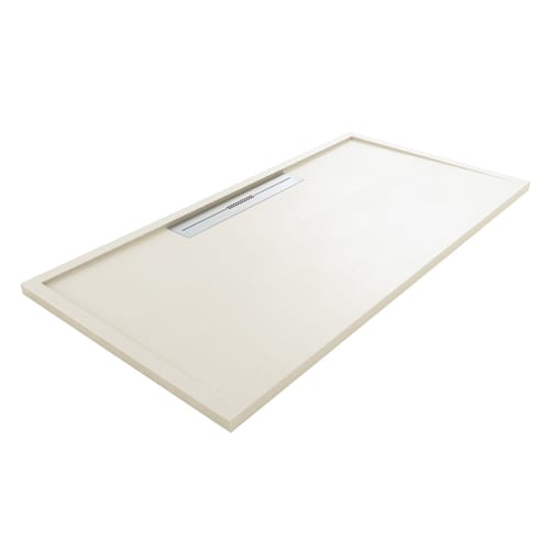 Fiora Silex AVANT large luxury ultra-thin shower tray in OFF WHITE colour with linear waste