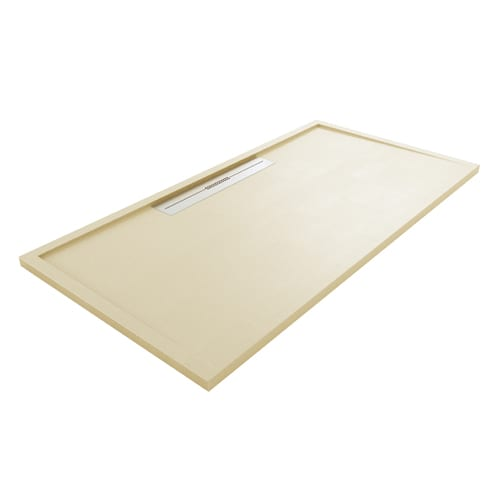 Fiora Silex AVANT large luxury ultra-thin shower tray in CREAM colour with linear waste