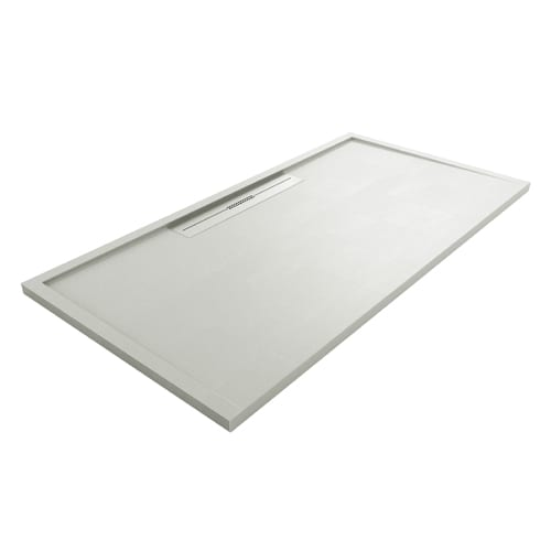 Fiora Silex AVANT large luxury ultra-thin shower tray in GREY colour with linear waste