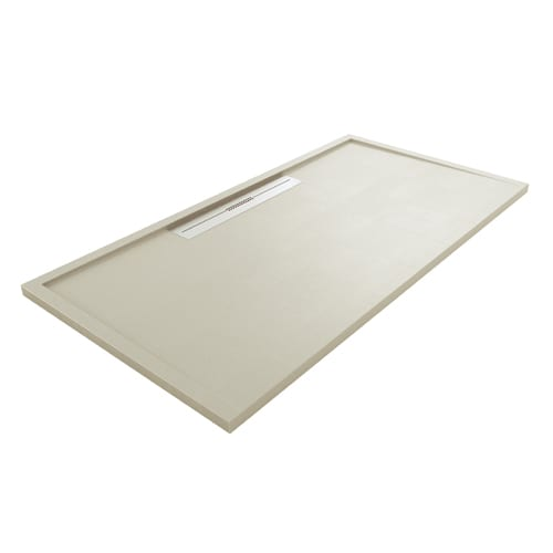 Fiora Silex AVANT large luxury ultra-thin shower tray in CEMENT GREY colour with linear waste