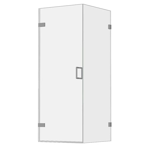 Room H2o frameless wall hinge shower door with side panel FWHD001S