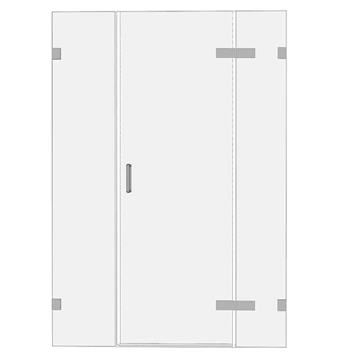 Room H2o frameless glass hinge shower door between 2 fixed inline panels FGHD2I00