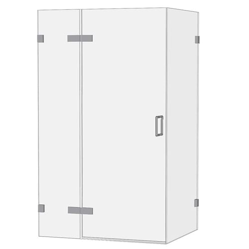Room H2o frameless glass hinge shower door with 1 inline and 1 side panel FGHD1I1S