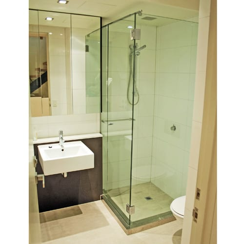 A bespoke frameless glass inward opening shower enclosure by Room H2o Bespoke
