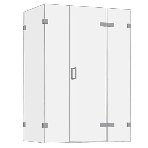 Room H2o frameless glass hinged shower door with 2 inlines and 1 side panel FGHD2I1S