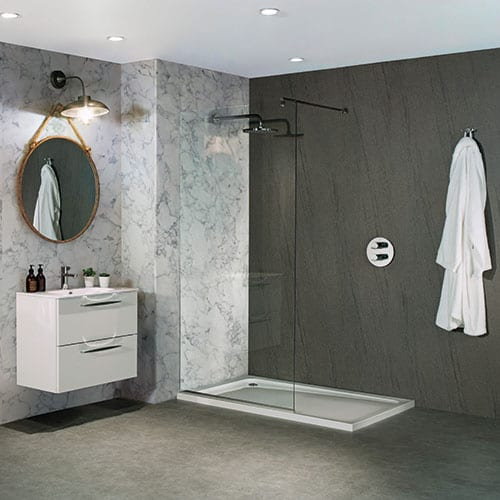 BB Nuance Natural Greystone Dark Grey Stone Effect Bathroom Wall Boards In  A Shower