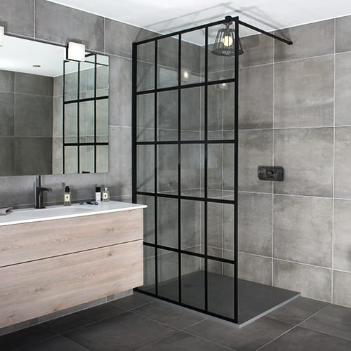Drench FRAME grid style black shower screen