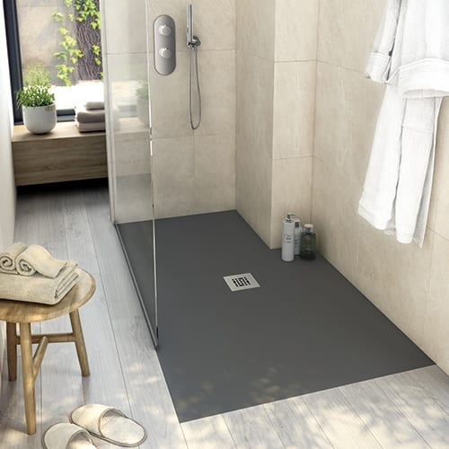 Fiora value slimline black shower tray with stainless waste grate