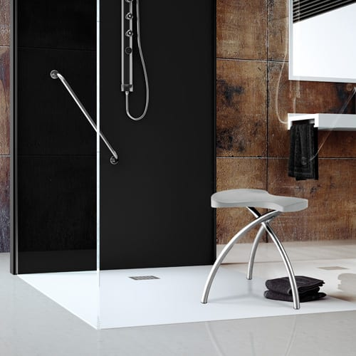 White Fiora Silex ultra-flat designer shower tray in a modern bathroon
