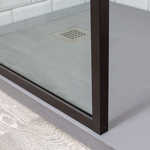 Powder coated finish in brown shower frame