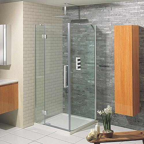 A semi frameless square shower enclosure with hinged door by Simpsons