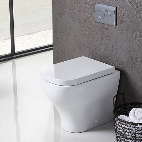 Roper Rhodes Version back to wall toilet perfectly suits this modern bathroom